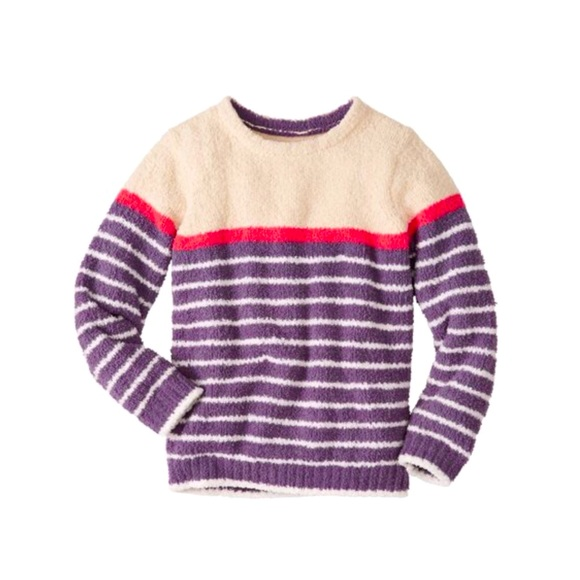 Hanna Andersson Purple Stripe Marshmallow Sweater